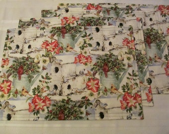 Snowy Birdhouse Holiday Placemats