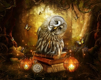 fantasy owl in woodland forest art print