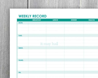 7 Day Food Exercise Sleep Journal Instant Download Printable Organize PDF