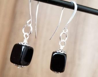Silver & Black Plastic Square Drop Earring