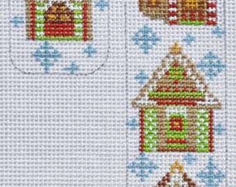 Needlepoint Handpainted CHRISTMAS Candy Cane Gingerbread House CH Designs 3x5 -Free US Shipping!!!