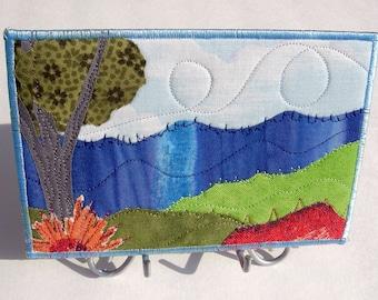 Rustic Modern Art - Nature Landscape - Blue Ridge Mountains - Mountain Landscape - Fabric Art- Wall Art - Office- Art - Coworker Gift