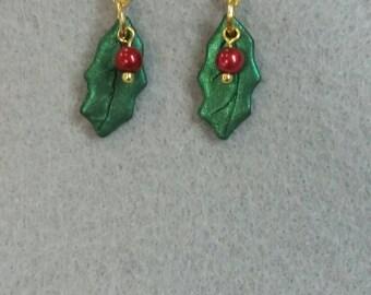 Shiny Holly Leaf Earrings