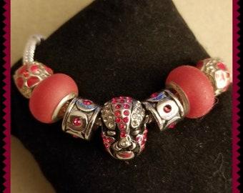 Pandora STYLE bracelet with a jeweled mask as a focal bead