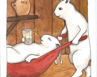 Original Watercolor Rabbit Painting - Moonshine