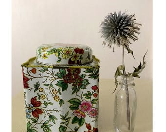 Vintage Floral Tea Tin Box