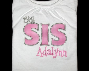 Custom Personalized Applique Big, Middle, or Little SISTER and NAME Bodysuit or Shirt - Lt Pink Mini Gingham and Gray