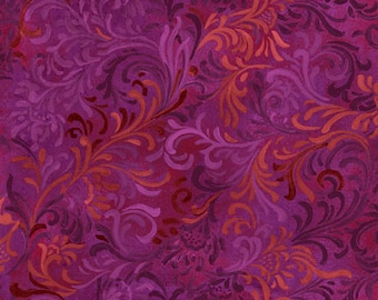 Floral Fabric, Magenta Fabric, Essentials Embellishment by Wilmington Prints, Purple and Red Fabric, Purple Floral Fabric, 10214