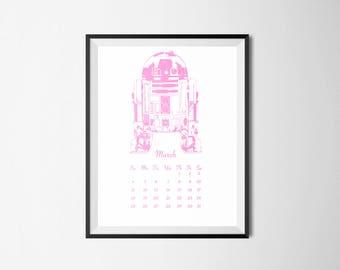 PINK 2018 Calendar January - December printable Star Wars Luke Skywalker prints Darth Vader The Last Jedi Stormtrooper BB-8 Rey Mark Hamill