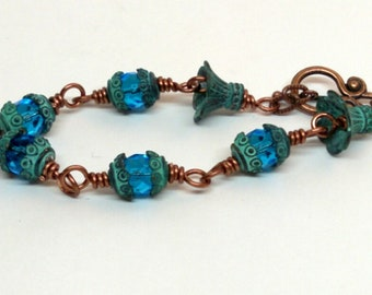 Bohemian Copper and Czech Glass with Patina Components and Copper Toggle Clasp
