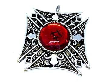 Large Huge Silver Tone Pendant, Goth Gothic Maltese Cross, Fleur De Lis, Red Cabochon, Statement Pendant, VisionsOfOlde