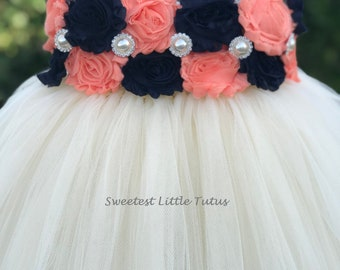 Navy Blue and Peach Flower Girl Tutu Dress/ Navy Blue Peach Flower Girl Dress/ Navy Blue Flower Girl Dress/ Peach Flower Girl Dress