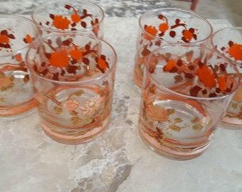 Set of Six Vintage Glasses Hand Painted