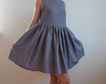 Maternity dress, Gray Linen dress, Black linen dress, Black dress, Linen womens dress, Medium size dress, Washed linen, Black