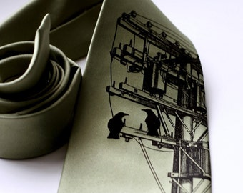 Power Lines Necktie. Transformer, Electric Wires Tie. Black screen print on sage green & more. Lineman gift, phone company gift.