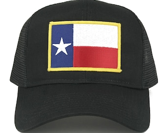 Texas State Flag Embroidered Iron on Patch Snapback Adjustable Mesh Cap (30-287-FPA544-TEXAS)