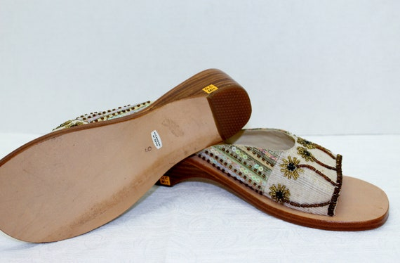 Sandal Boho Lovely 6 NOS Slide Worn Never Size Beaded Woman's Wow Vintage X88rqndH6w