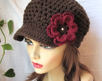 Crochet Chocolate Brown Womens Hat, Flower Newsboy, Teen, Mocha, Burgundy, Pearl, Birthday Gifts, Fall Hat, Winter Hat, JE129CFALL1