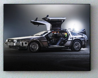 Framed Back To The Future Delorean Time Machine Hi-Res Photo