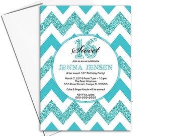 Sweet sixteen invitations turquoise teal | girl birthday invites chevron | printable or printed - WLP00359