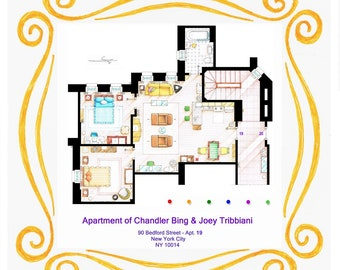 Floorplan of Chandler and Joey's apartment inside the peephole