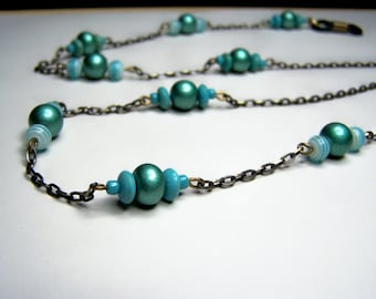 Teal Color, Eyeglass Chain, Light Weight Eyeglasses Holder, 26 inches One of a Kind by Eyewearglamour