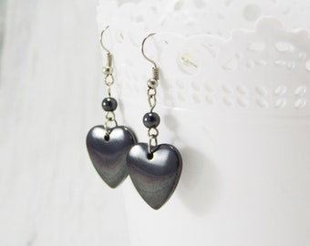 Gift for her gemstone earrings Hematite Jewelry hearts earring stone jewelry Dangle Earrings heart jewelry hematite earrings black earrings