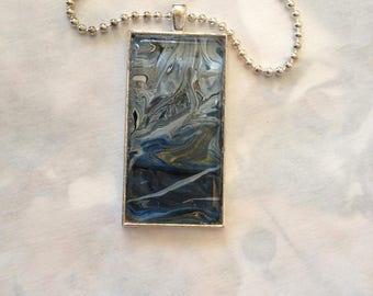 Unique Hand Painted Pendant Silvertone Ball Chain