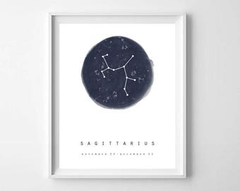 Sagittarius Constellation Art, PRINTABLE ART, Art Print Poster, Sagittarius Wall Art, Zodiac Constellation, Zodiac Sign, Zodiac Print