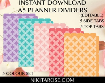 PRINTABLE A5 Planner Dividers   5 Colour Side Tabs   Text Editable   Cut Away Rounded Tabs   Half Size   Rainbow   Organiser   DOWNLOAD