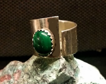 Fashion Ring, Sterling Silver & Malachite