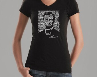 Women's V-Neck T-Shirt - Abraham Lincoln Created out of the Entire - Gettysburg Address
