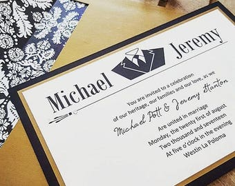 Black and Antique Gold Gentlemans Tux Stacked Invitation Suite