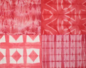 111 - Hand dyed Shibori fat quarter red fabrics