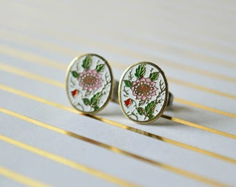 Pink Dahlia Earrings - White Background - Enaeml Earrings - Flower Enamel - Oval - Surgical Steel Earrings - Stud Earrings - Vintage Enamel