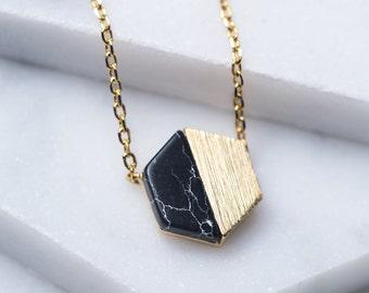 Onyx Necklace, Hexagon Necklace Gold, 14K Gold Pendant Necklace, Onyx Hexagon Necklace, Hexagon Pendant, Minimal Pendant Necklace, N346-BK