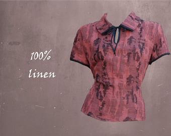 blouse linen, summer blouse, retro blouse, blouse linen jaquard
