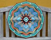 """Ojo de Dios mandala, 24 inch all wool yarns """"Blue Horizon"""" by custom order"""