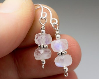 Rainbow Moonstone Faceted Bali Bead Sterling Silver Wire Earrings