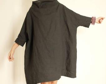 Linen Dress - Plus Size Clothing - Linen Tunic - Linen Womens Clothing - Charcoal Tunic - XXL Dress - 3X Womens Clothing - Oversized Shirt