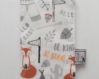 custom baby burp cloth ~ gray/orange brave fox ~ premium 6 ply cloth diaper burp cloth ~ baby accessories ~ from lillybelle designs