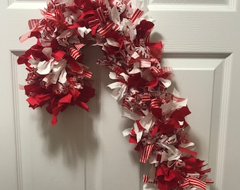 Candy Cane Rag Wreath