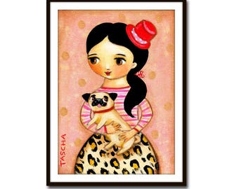 PRINT of PUG dog sweet poster print of Girl in Leopard Print with pug dog folk art print of painting by Tascha