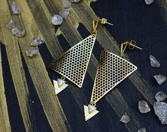 Triangle earrings, Gold triangle earrings, Asymmetric earrings, Drop triangle earrings, Geometric gold earrings, Gold statement earrings