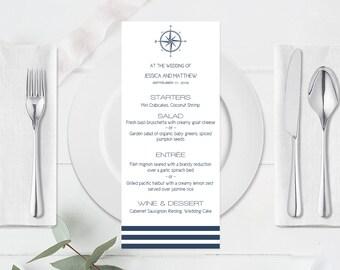 Wedding Menu Template, Nautical Compass & Stripes, Printable Wedding Menu Template, Nautical Menu, Compass Menu, Stripes Menu, DIY You Print