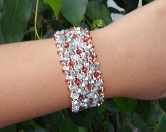 elegant red Swarovski Crystal and silver bracelet Cuff Bracelet