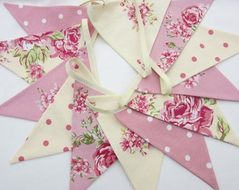 Fabric Bunting, cottage chic, Cream and Pink, Wedding, UK Bunting, Floral, Christening, Baby Shower, Birthday Decor, Select amount of Flags