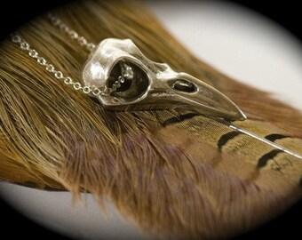 Silver Raven Skull Necklace,Bird Skull Necklace, Sterling Silver Bird Skull Jewelry, Sterling Chain