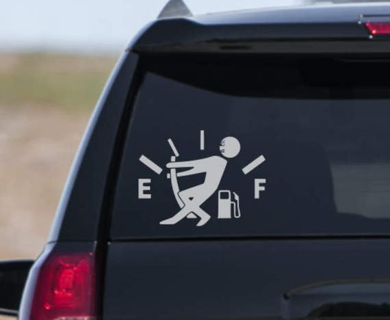 Out of gas funny decal