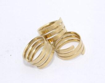 10 Pcs Inner 17mm Raw Brass Ring Setting - Adjustable ring - Flat rings , LA11